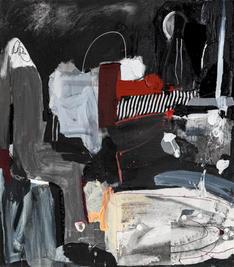 Piano lesson, 2021, mixed media on canvas, 90x80 cm