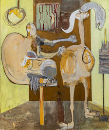 Figures in the yellow room, 2020, mixed media on canvas, 120x100 cm