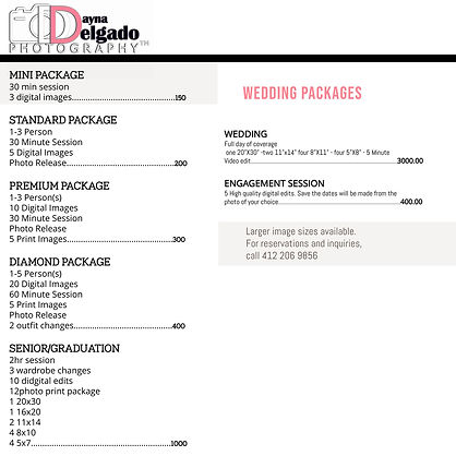 Copy of Modern Photographer Price List D