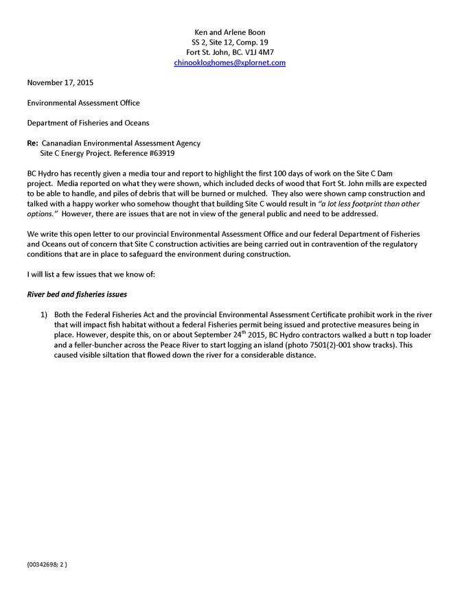 Site C infractions letter