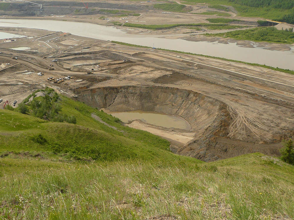 """""""Dam Cam"""".  Photo showing crater just upstream from proposed axis of Site C Dam."""