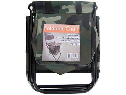 Camouflage Foldable Chair with Zipper Gear Pouch (Pack Of 4)