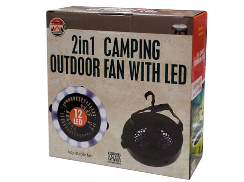 2 in 1 Camping Outdoor Fan with LED Light