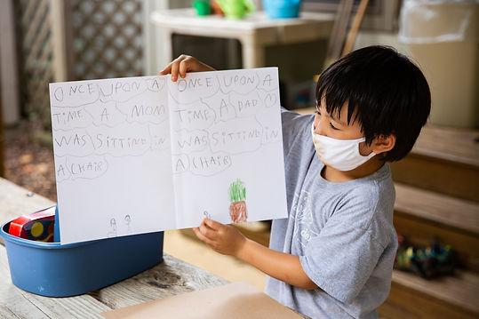 Student displaying work