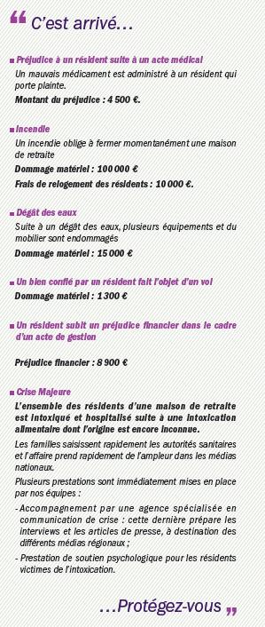 Exemple de sinistres pour l'assurance masion de retraite