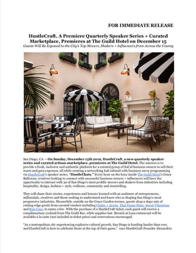 HustleCraft Press Release