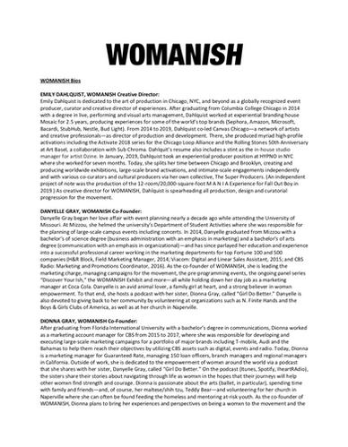 WOMANISH Bios