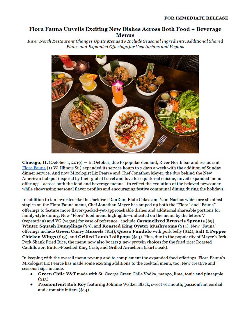 Flora Fauna Press Release