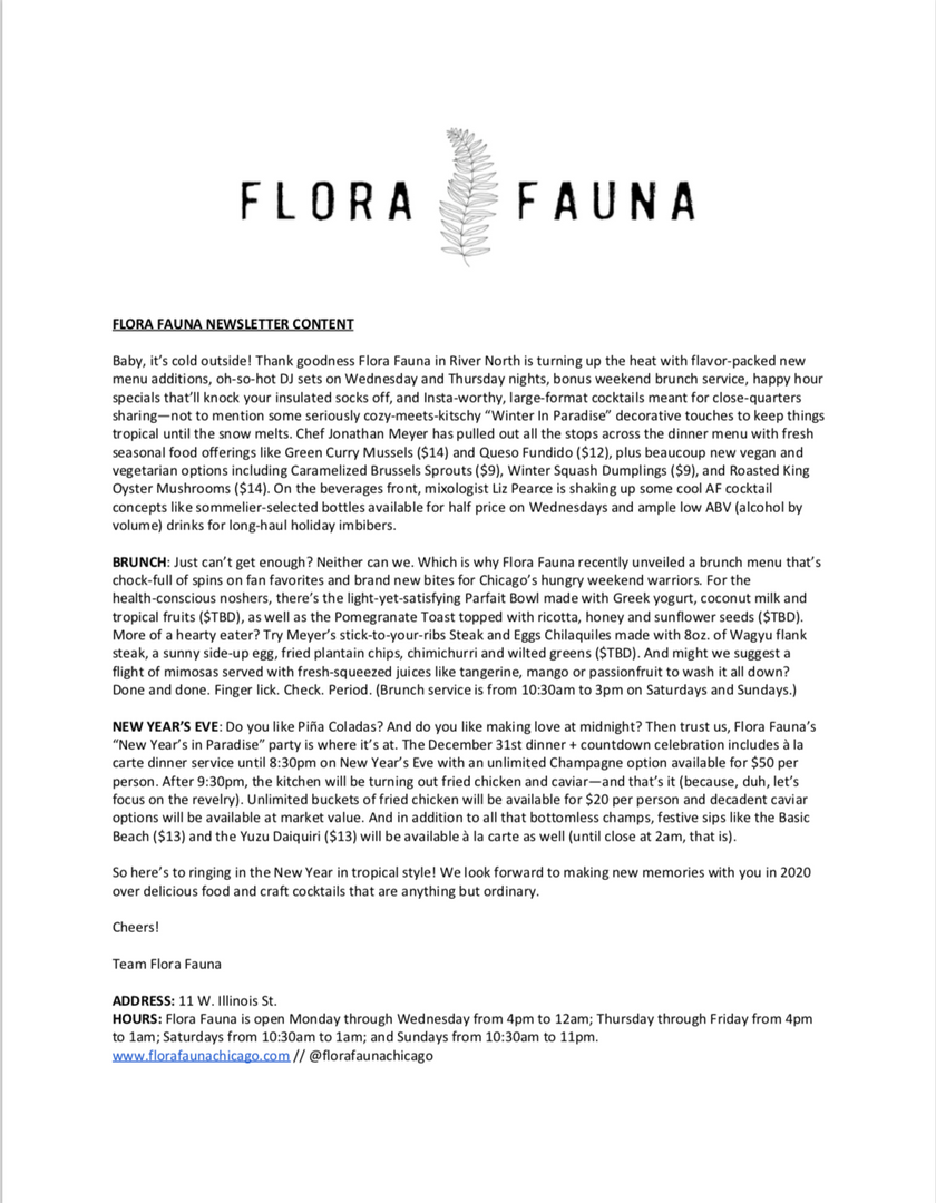 Flora Fauna Newsletter