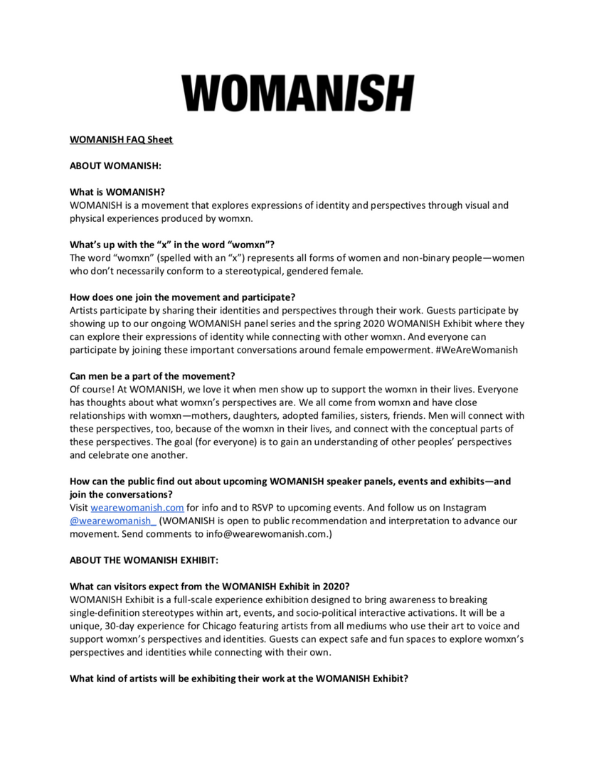 WOMANISH FAQ
