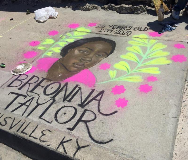 Ava & Julia Breonna Taylor Chalk Art Activism