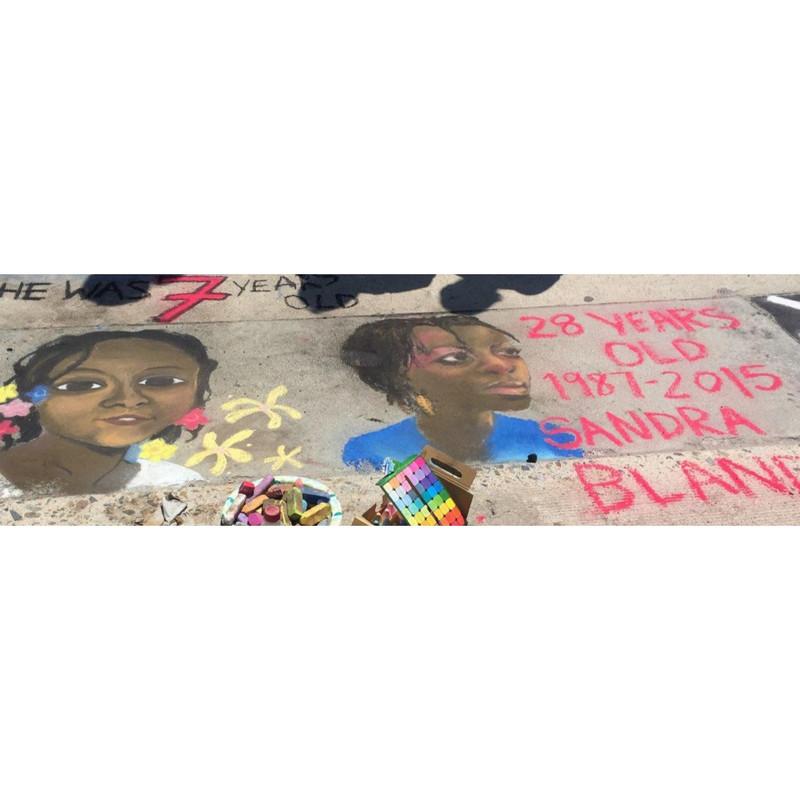 Sasha, Emma & Theo Chalk Art Activism