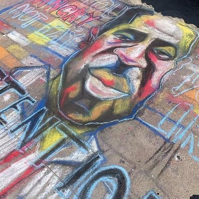 Vik's George Floyd Portrait Chalk Art Activism