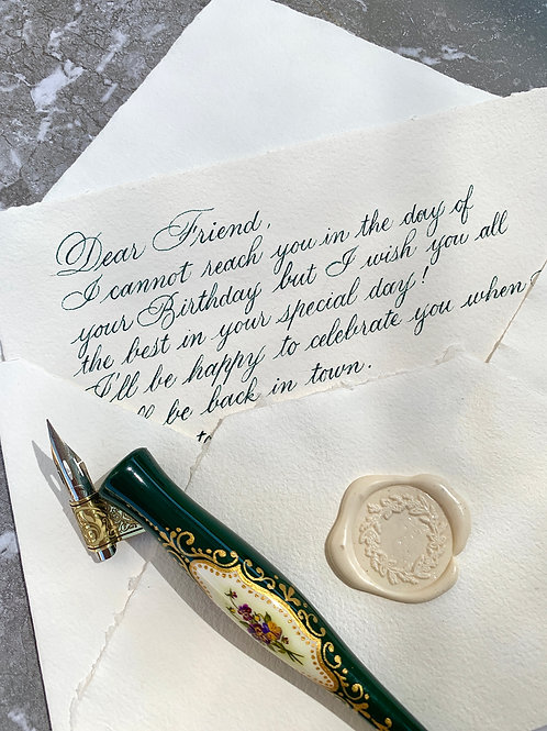 Handwritten Letter Sheet (12x18 cm - double) for special celebrations + Envelope