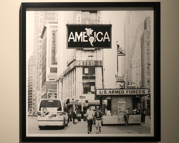 """Another example of anti-American artwork, this piece seeks to displace  the application of the word """"America"""""""
