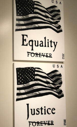 Artwork allegedly illustration a lack of equality and justice in America