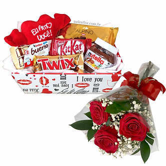 Cesta Chocolates + Rosas
