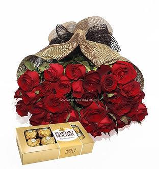 Buquê Luxo 36 Rosas + Ferrero