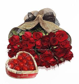 Buquê Luxo 36 Rosas + Bombons