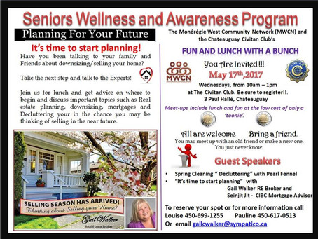 Seniors Wellness and Awareness Program: Real Estate/Mortgage Related Lecture Tomorrow