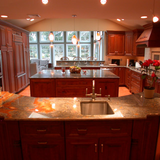 Cherry Traditional Multiple Islands Kitchen