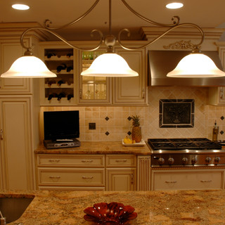 Cream Glazed Kitchen with Tiered Moldings