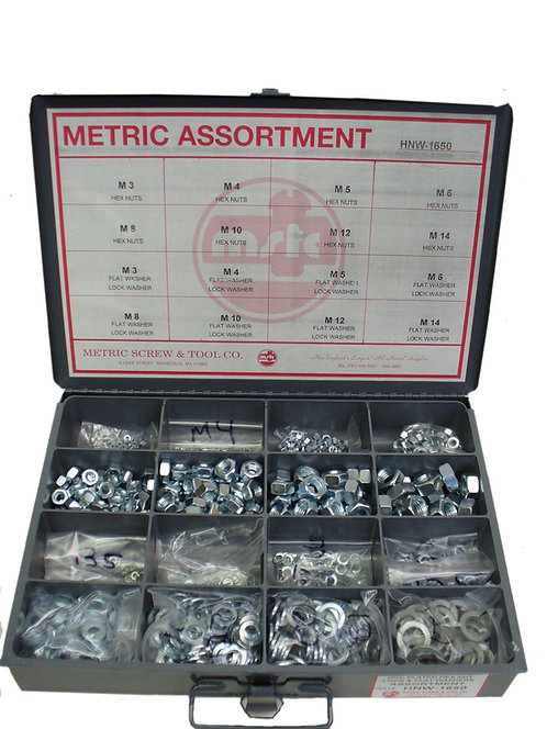 1650 PIECE HEX NUT, FLAT WASHER, LOCK WASHER ASSORTMENTS AND KITS