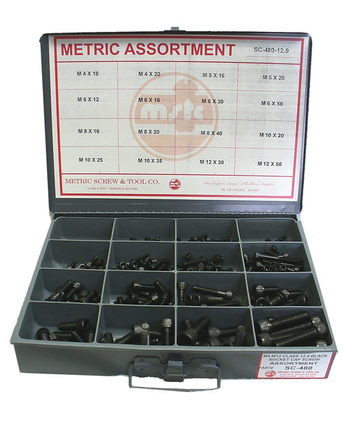 Socket Cap Screw Assortment M4-M12 480 Pcs