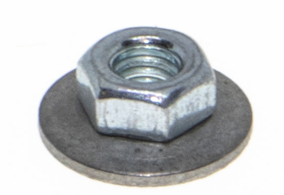 Hex Lock Nut, Attached Spring Washer, Large OD