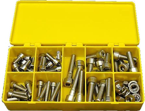 Stainless Steel Socket Head Assortment with Hex Nuts 78 Pcs