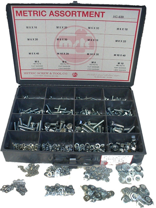 METRIC HARDWAE ASSORTMENT- NUTS, BOLTS AND WASHERS- 620 PIECES