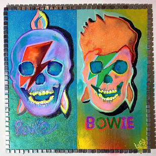 """Bowie Warhol"" 24"" x 24"" wood, paint, metallic glitter sealed.  Framed w/ Italian tiles (t"