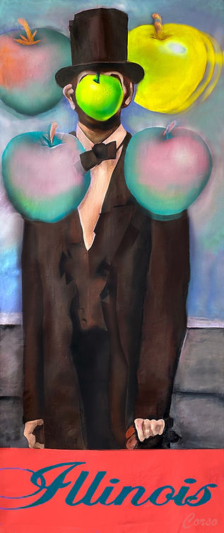 _Abe meets Magritte in Paris_  10' x 4', 2021_acrylic, airbrush on canvas)