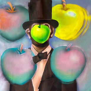 """""""Abe Meets Magritte in Paris"""" 8' x 4' (top 1/2) acrylic paint, airbrush, canvas.  2021"""
