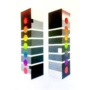 """""""Chakra Twister Towers (2 - 3D wall install, front ) 5' x 1.5,' canvas, acrylic"""