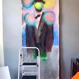 """Abe Meets Magritte in Paris"" Process Shot"