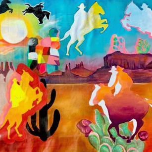 """""""Ghosts of Wild West"""" 4' x 3' acrylic on canvas (pre-streched)"""