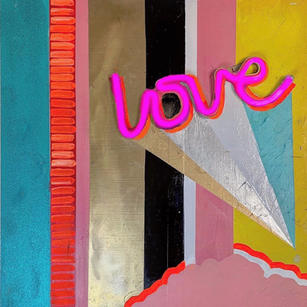 """Pink Cloud"" 24"" x 24,"" acrylic, metallic enamel, mixed-media neon & EL lights on wood"