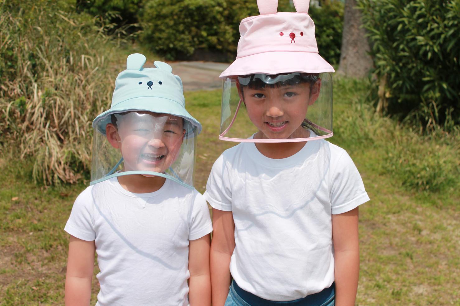 飛沫対策ガード帽子.JPG