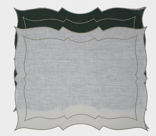 Set of 2 Placemats Parentesi Rectangular White/Silver & Dark Green/Silver