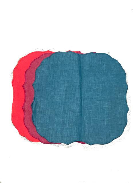 Set of 3 Krinkle Placemats T.C_Petrol/Cardinal/Anemone