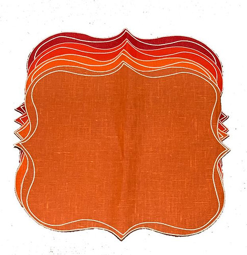 Set of 4 Krinkle Placemats_orange&red mix
