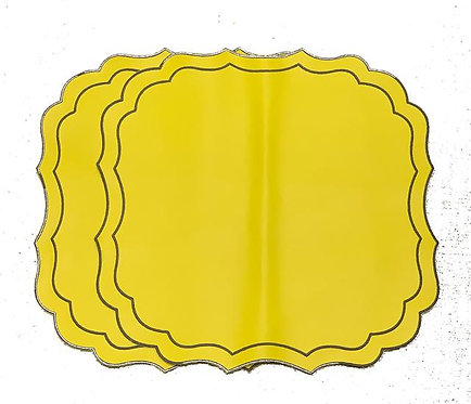 Set of 3 Krinkle Placemats Eco-leather yellow/grey