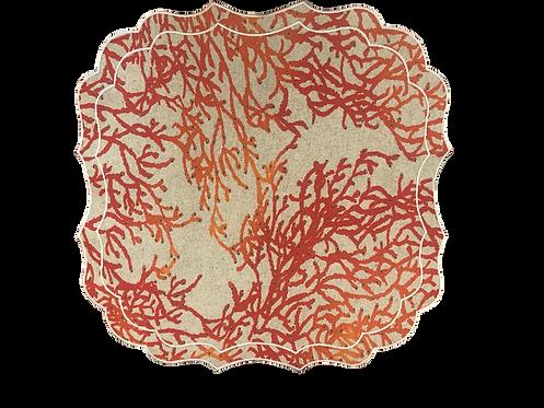 Set of 2 Krinkle Coral placemat_Mix 1 Blue + 1 Orange