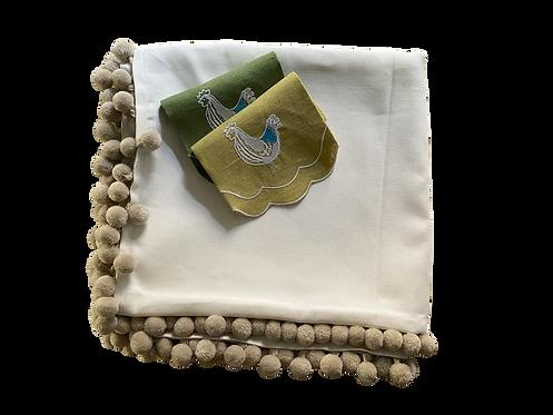 Tablecloth Piquet Ponpon - Ivory/Brique