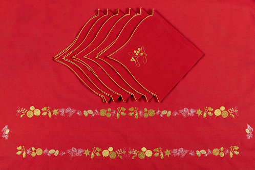 Set of Tablecloth&Napkins_Angelina red/gold
