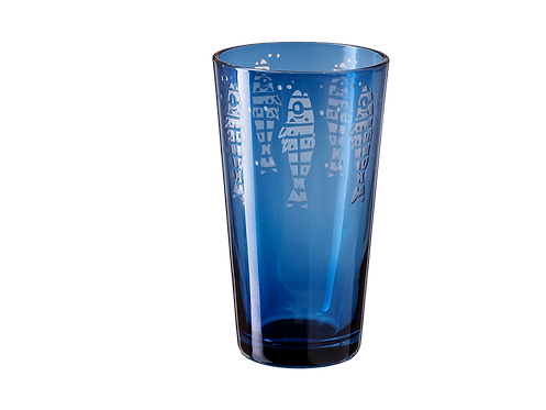Drinking Glass Sardine - Set of 4_Blue
