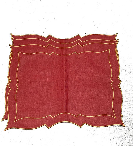Set of 3 Parentesi Rectangular placemats_red/metal gold