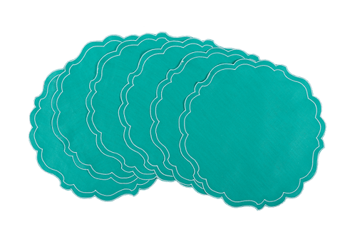 Set of 7 Placemats Paper Smooth - Aquamarine