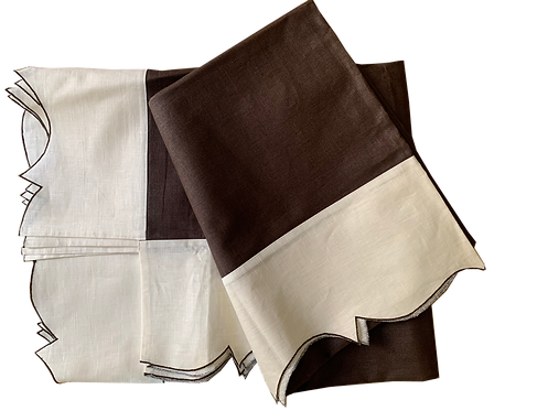Tablecloth Parentesi Rect. Piquet - Brown/Ivory